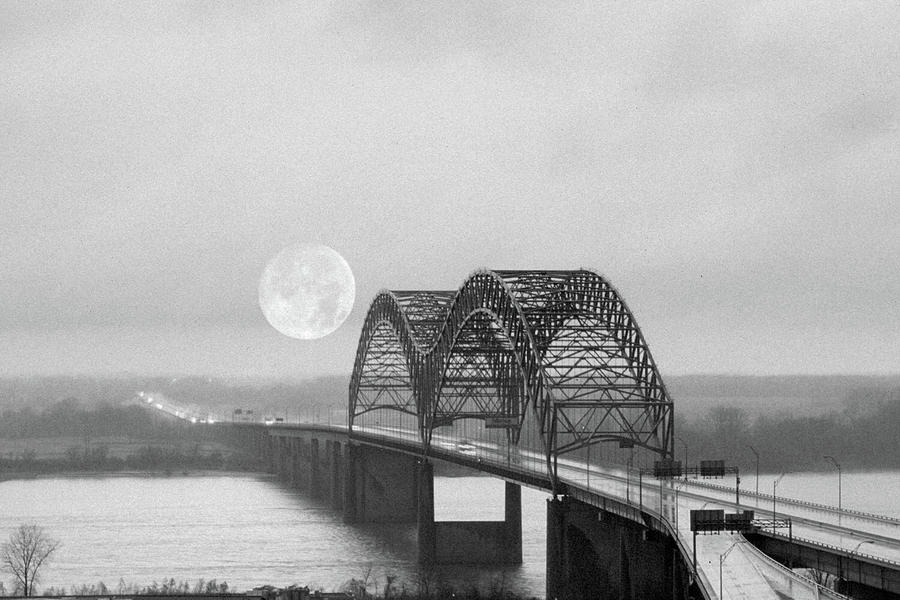 Bridge With Moon Photograph