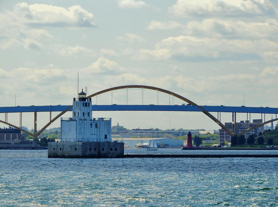 Harbor Photograph - Bridging The Milwaukee Harbor by Red Cross