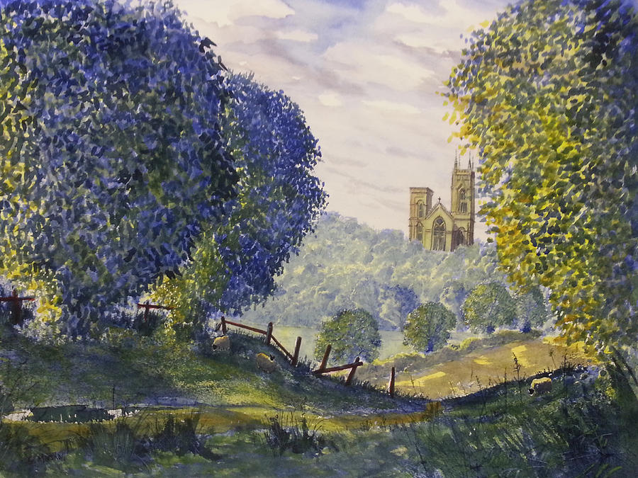 Watercolour Painting - Bridlington Priory From Woldgate On The Hockney Trail by Glenn Marshall