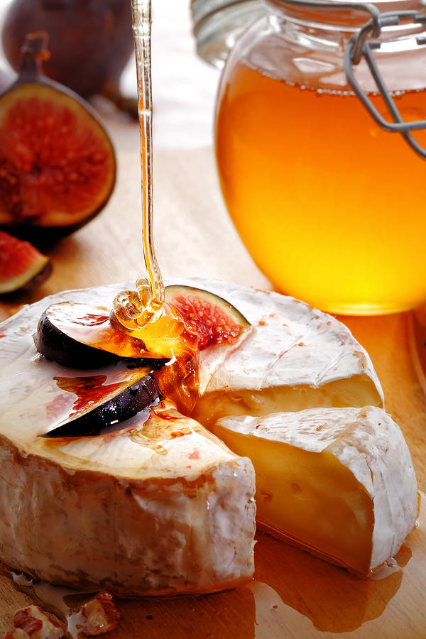 Brie Photograph - Brie Cheese With Figs And Honey by Johan Swanepoel