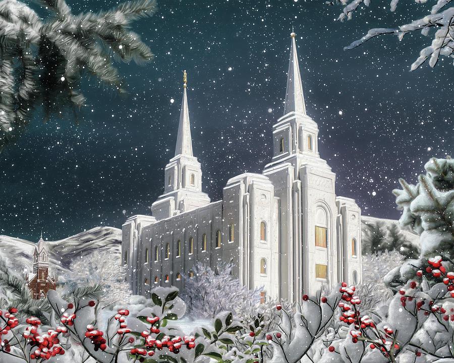 Brigham Digital Art - Brigham City Winter by Brent Borup