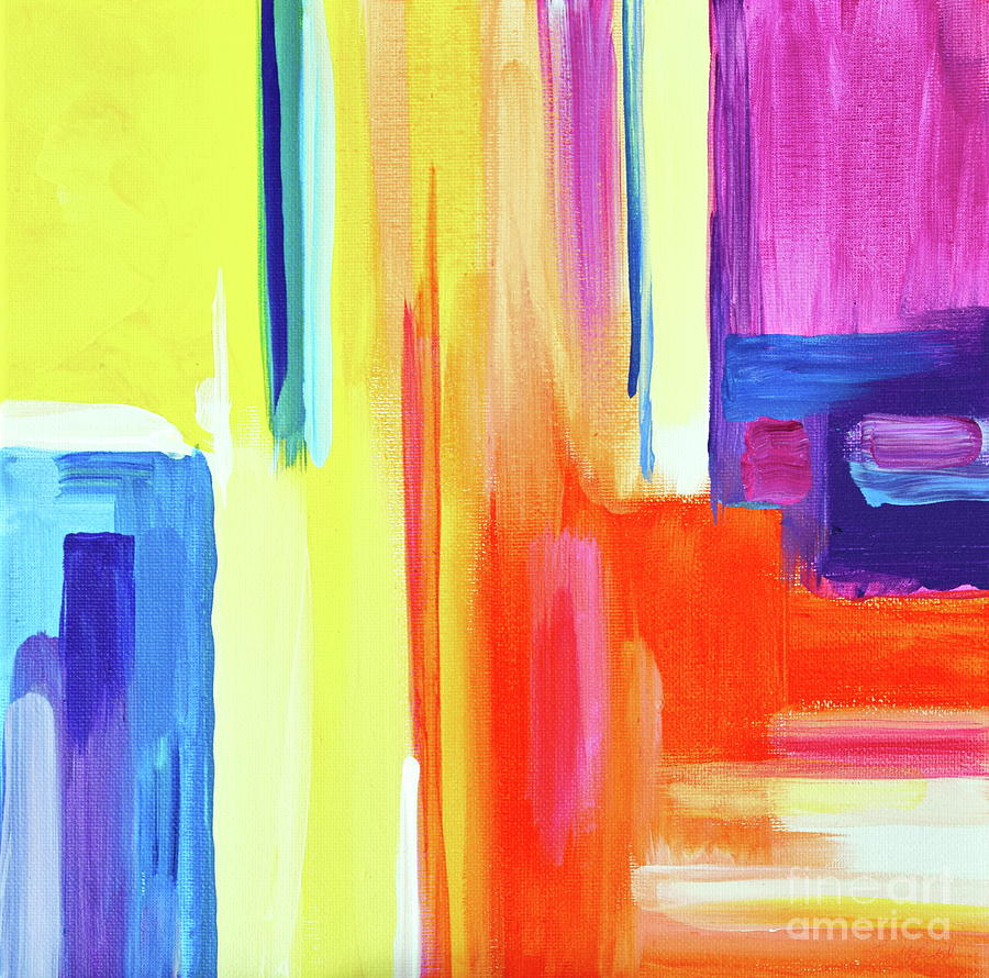Bright Blocks  Painting by Priscilla Batzell Expressionist Art Studio Gallery