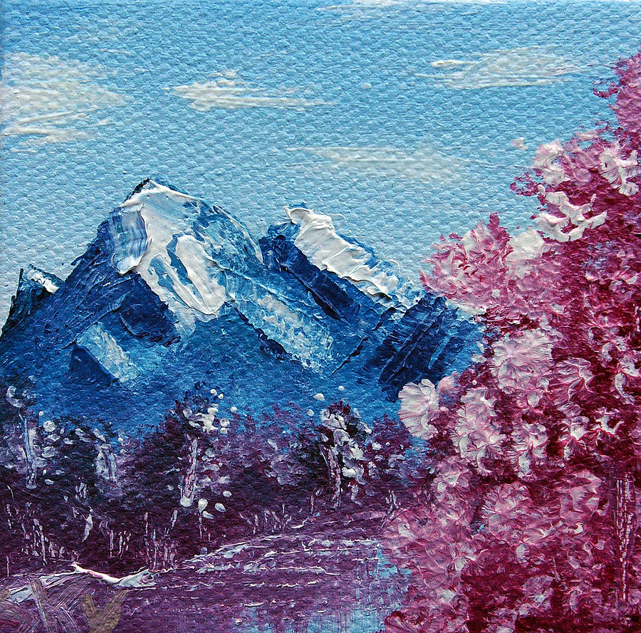 Wonderous Painting - Bright Blue Mountains by Jera Sky