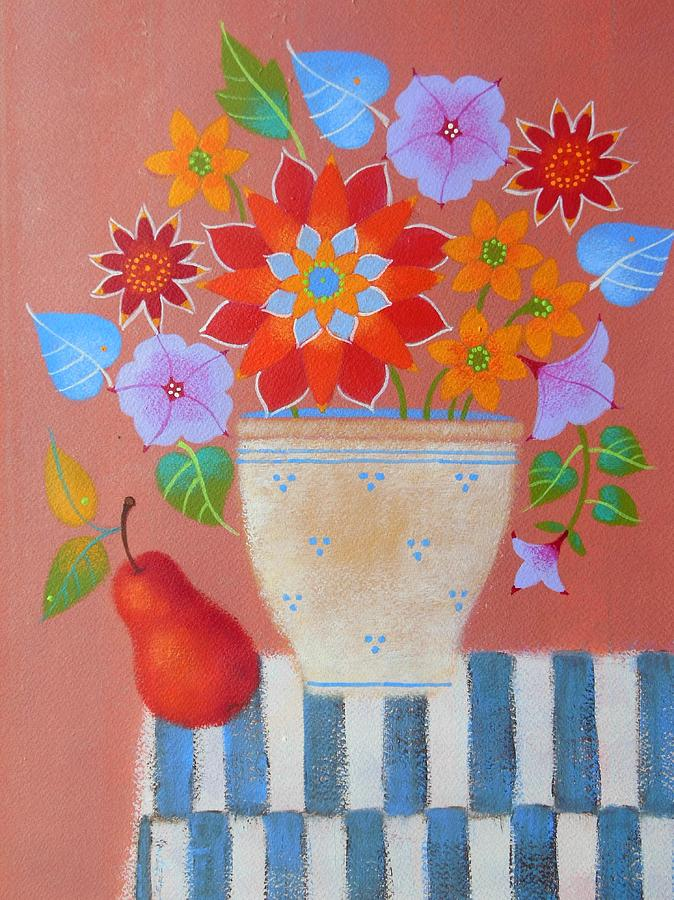 Fall Flowers Painting - Bright Dahlias by Mary Maki Rae