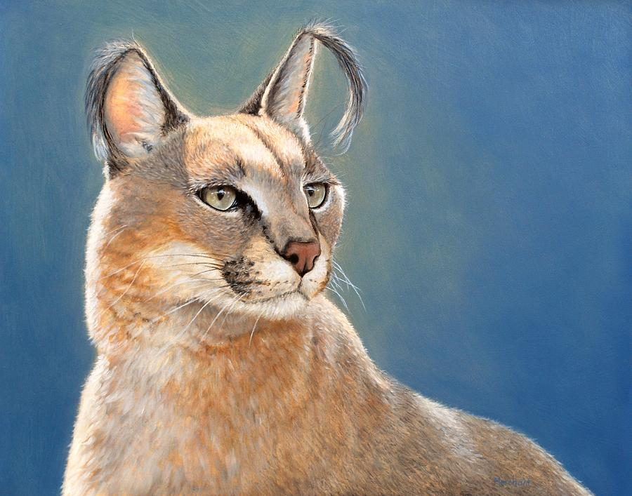 Caracal Painting - Bright Eyes - Caracal by Linda Merchant