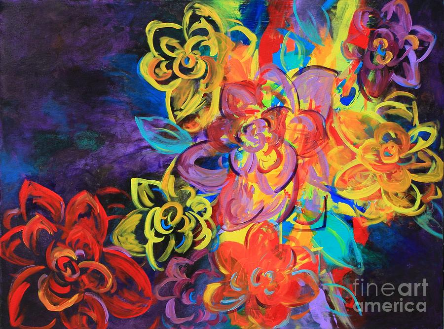 Bright Flowers Painting by Sabra Chili