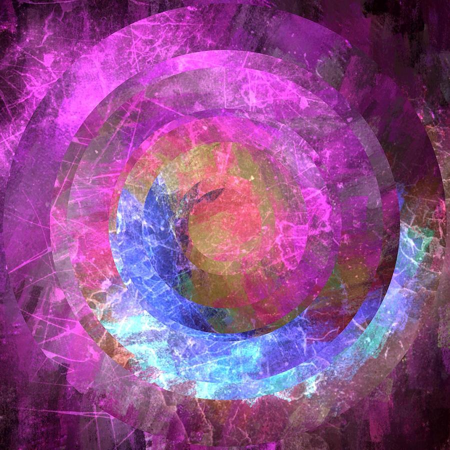 Brandi Fitzgerald Digital Art - Bright Fuchsia And Blue Space Circles by Brandi Fitzgerald