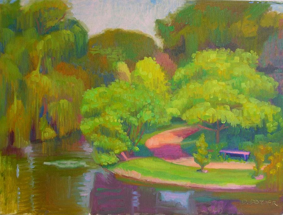 Landscape Painting - Bright Hazy Day Chicago Botanical Gardens by David Dozier