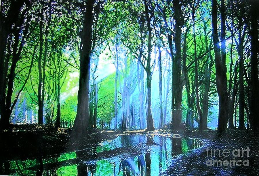 Bright Light In Dark Wood Painting By Marie Line Vasseur