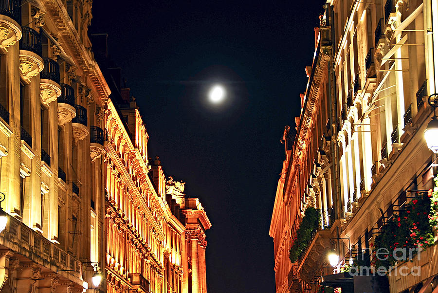 Architecture Photograph - Bright Moon In Paris by Elena Elisseeva