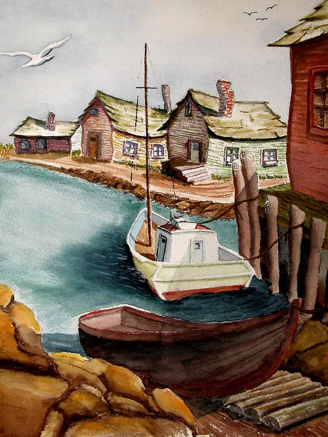 Fishing Village Painting - Bright Morning by Robert Thomaston