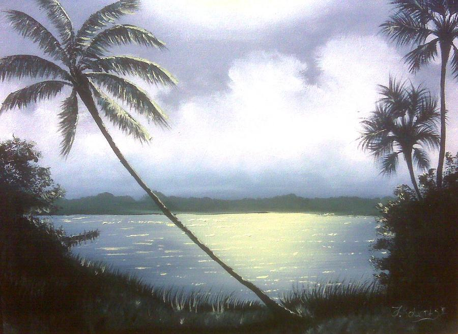 Indian River Painting - Bright Night by Francis Roberts ll