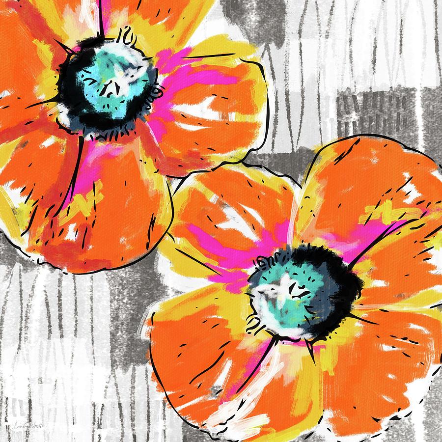 Bright Orange Poppies Art By Linda Woods Mixed Media By Linda Woods