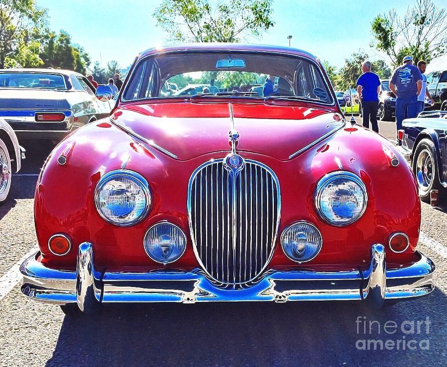 Red Digital Art - Bright Red Jaguar by Sue M Marshall