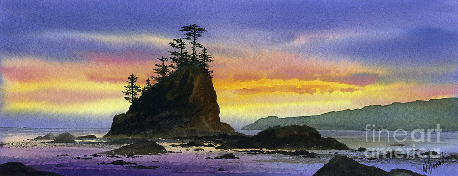 Landscape Fine Art Print Painting - Bright Seacoast Sunset by James Williamson