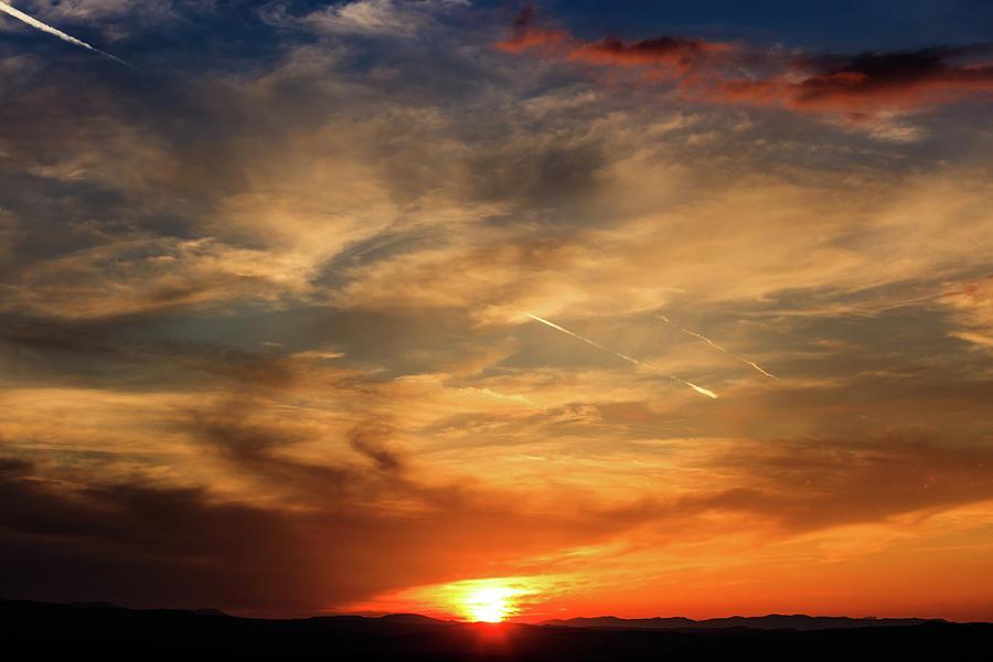 Sunlight Photograph - Bright Sundown In Mountains by George Tsartsianidis
