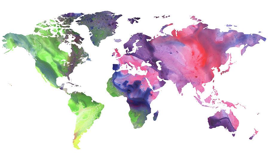 Bright Watercolor Map Of The World Painting by Irina Sztukowski