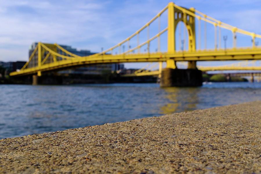 Bright Yellow Bridge In Downtown Pittsburgh Pennsylvania by John McLenaghan