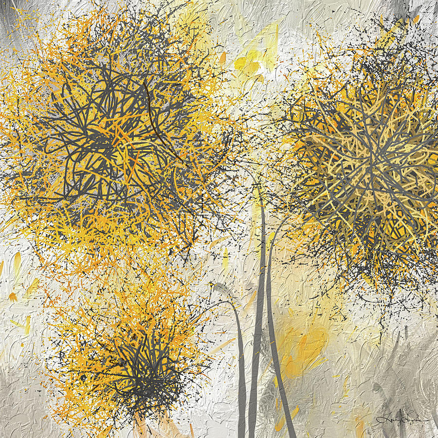 Brighter blooms yellow and gray modern artwork painting for White paint going yellow