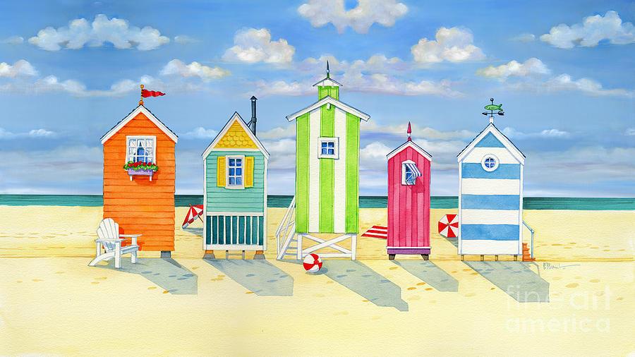 Brighton Painting - Brighton Beach Huts by Paul Brent