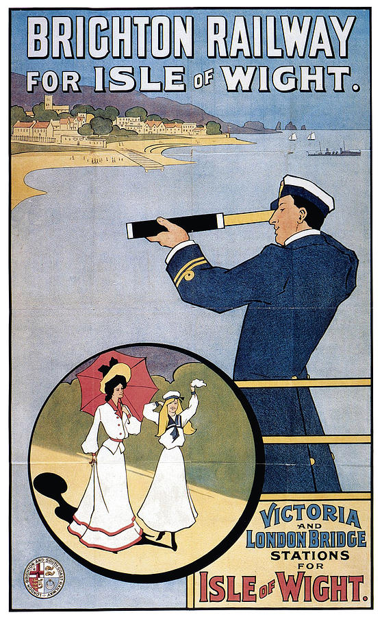 Brighton Railway, England - Isle Of Wight -  Retro Travel Advertising Poster - Vintage Poster Mixed Media