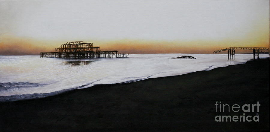 Oil Painting - Brighton West Pier-tranquil Sunset by Pauline Sharp