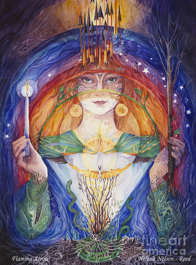 Goddess Painting - Brigid, The Flaming Arrow by Helena Nelson - Reed
