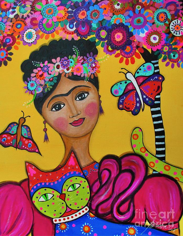 Tree Painting - Brigits Frida And Cat by Pristine Cartera Turkus