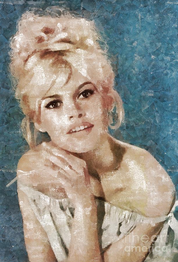 Hollywood Painting - Brigitte Bardot, Actress by Mary Bassett