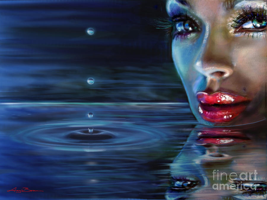Water Painting - Brilliant Eyes Water by Angie Braun
