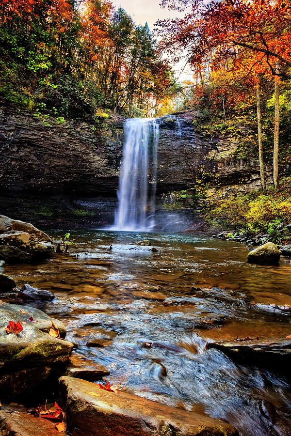 Appalachia Photograph - Brilliant Fall Waterfall At Cloudland Canyon by Debra and Dave Vanderlaan