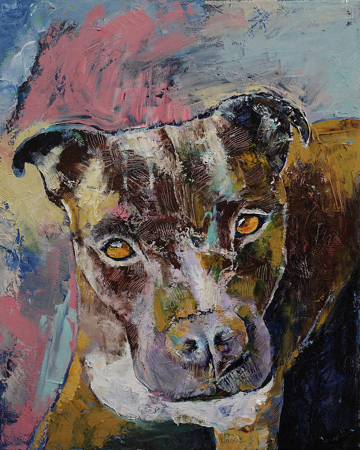 Dog Painting - Brindle Bully by Michael Creese