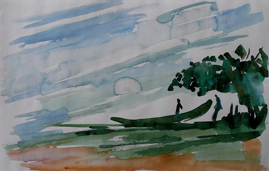 Painting Painting - Bringing Home The Catch by Abin Raj