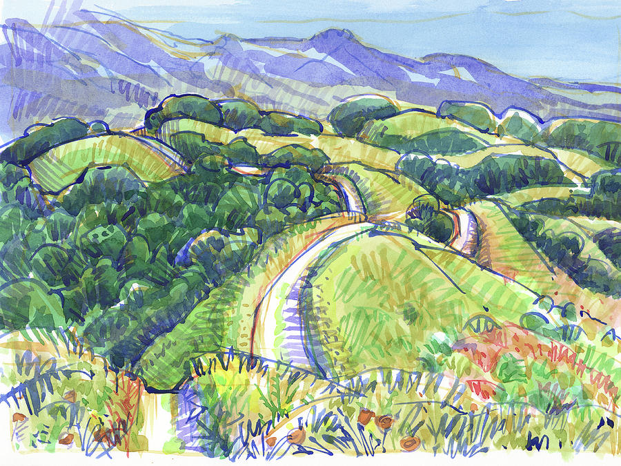 Briones Crest In May, Lafayette, Ca Painting by Judith Kunzle