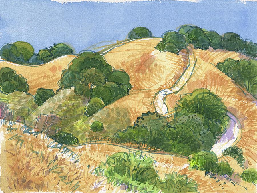 Landscape Painting - Briones Crest Trail In June by Judith Kunzle