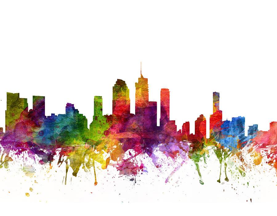 Brisbane Drawing - Brisbane Australia Cityscape 06 by Aged Pixel