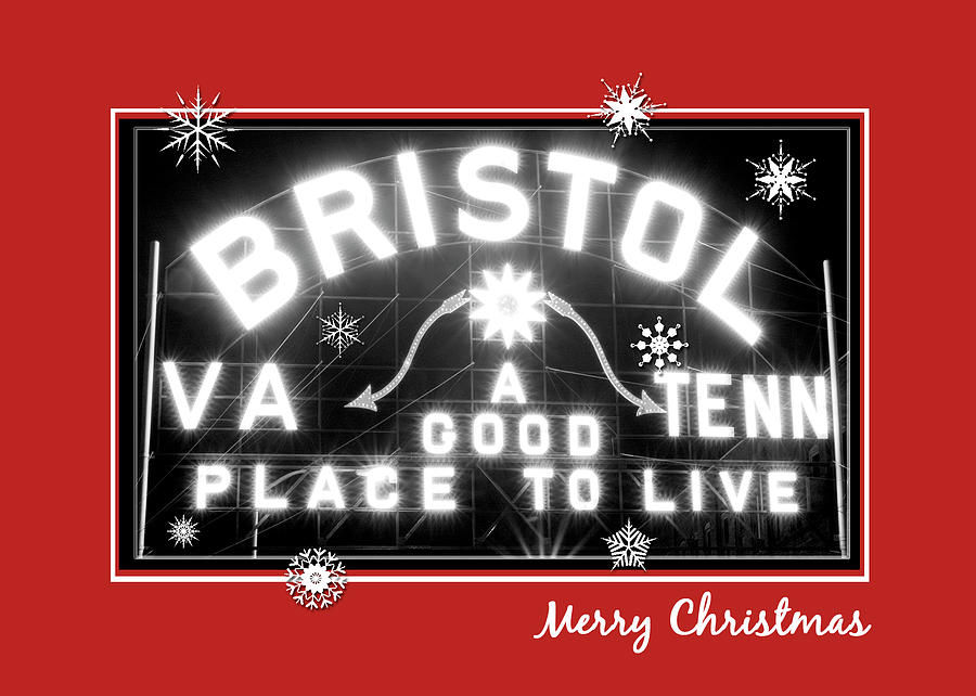 bristol virginia tennessee photograph bristol sign holiday christmas card by denise beverly - How To Sign A Christmas Card