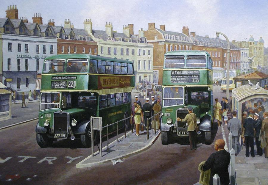 Bus Painting - Bristols At Weymouth by Mike Jeffries