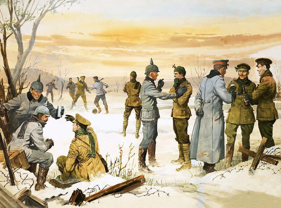 Truce Painting - British and German soldiers hold a Christmas truce during the Great War by Angus McBride