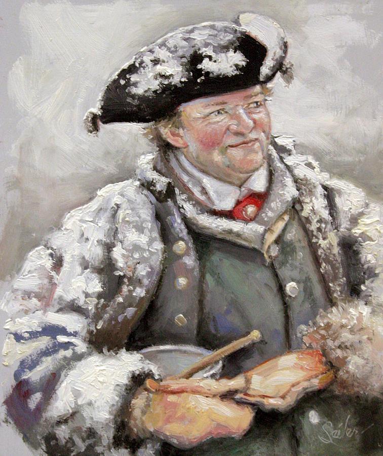 Figurative Painting - British Fur Trader- Dinner Time by Larry Seiler