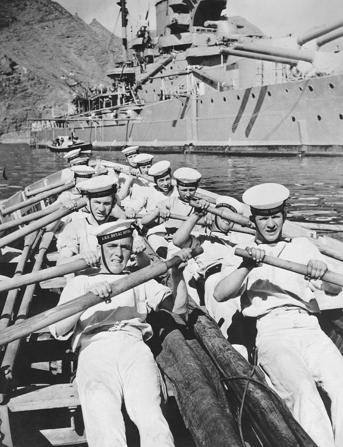 1930s Photograph - British Sailors Rowing by Underwood Archives