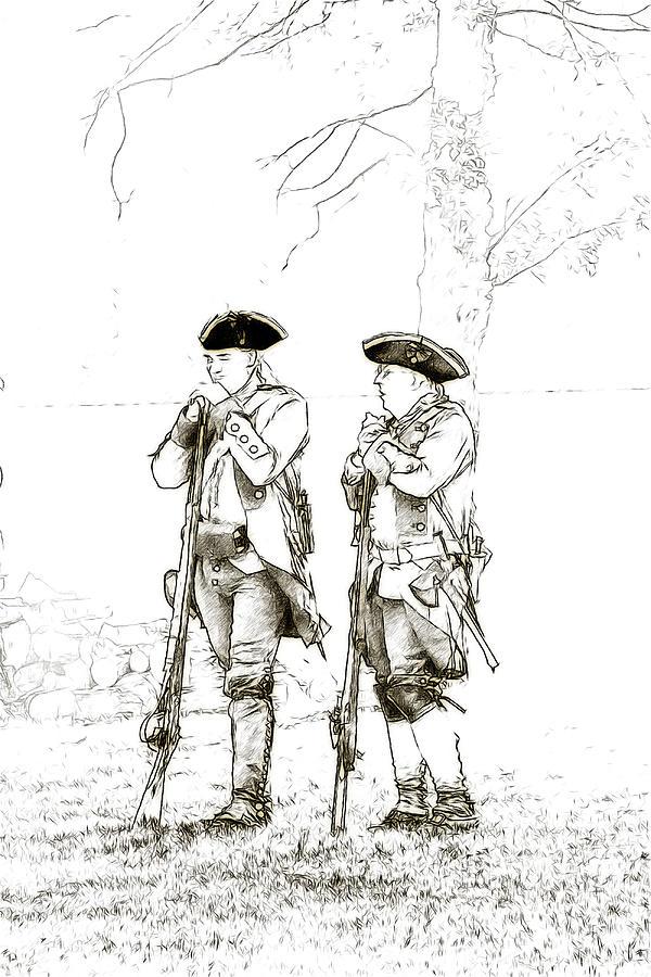 British Soldiers Sketch Digital Art By Randy Steele