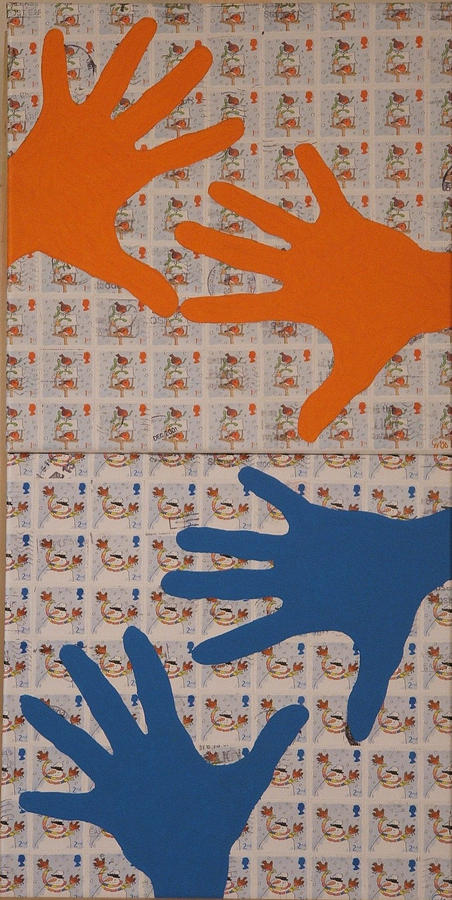 Abstract Mixed Media - British Stamps IIi     Hands     Blue And Orange by Claudia Bermudez