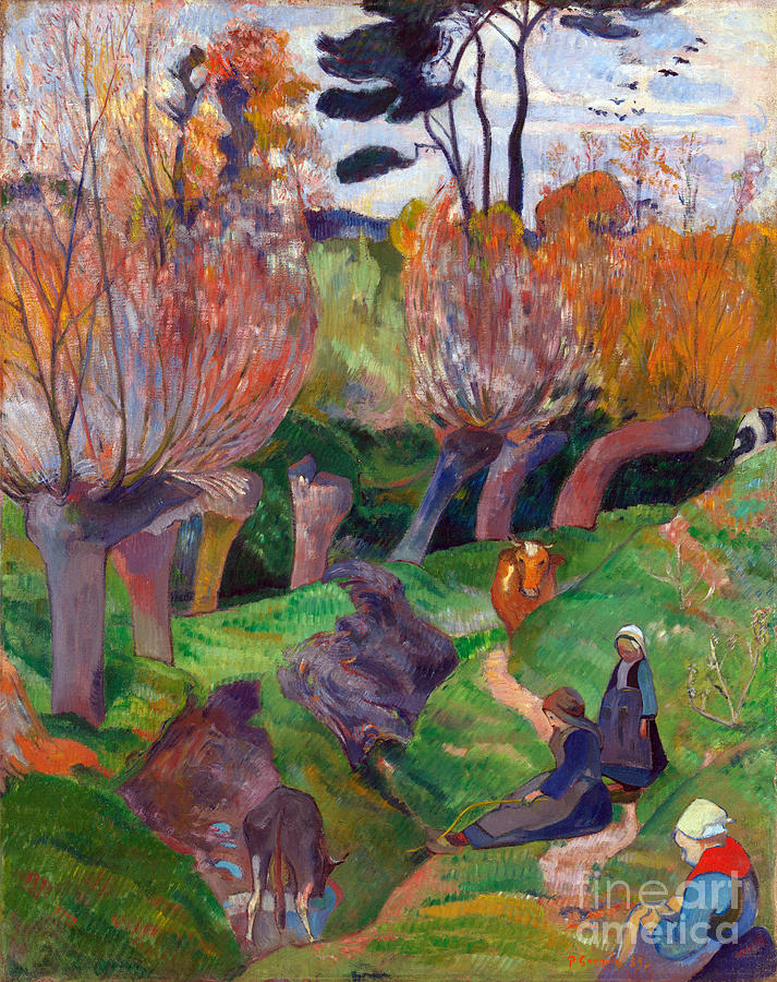 Paul Painting - Brittany Landscape With Cows by Gauguin