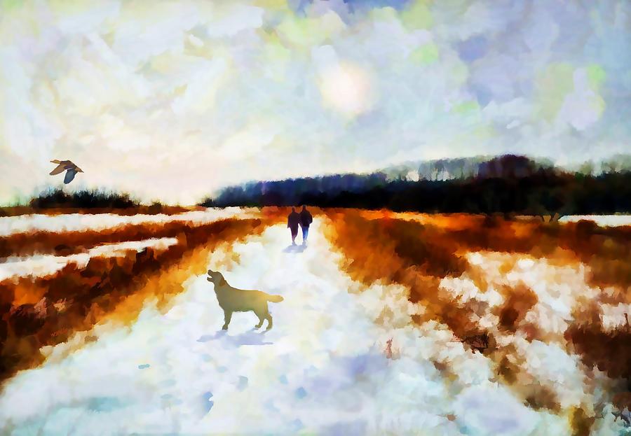 Landscape Painting - Broadland Walk by Valerie Anne Kelly