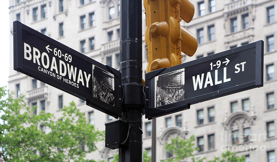 Broadway And Wall Street Street Sign 2 Photograph