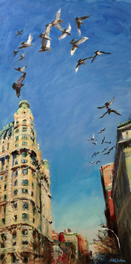 New York Painting - Broadway Pigeons No. 1 by Peter Salwen