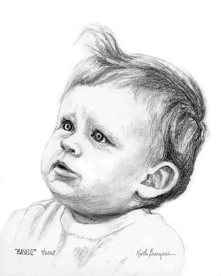 Portrait Drawing - Brodi by Keith Burgess