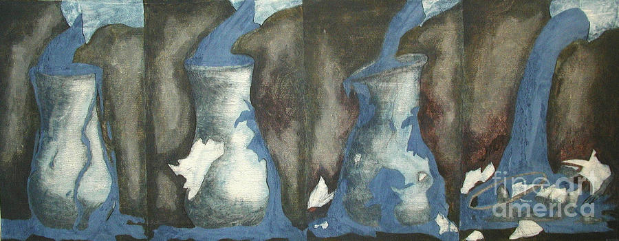 Water Painting - Broke Down- This Vase Cannot Hold Any More by Sarah Goodbread