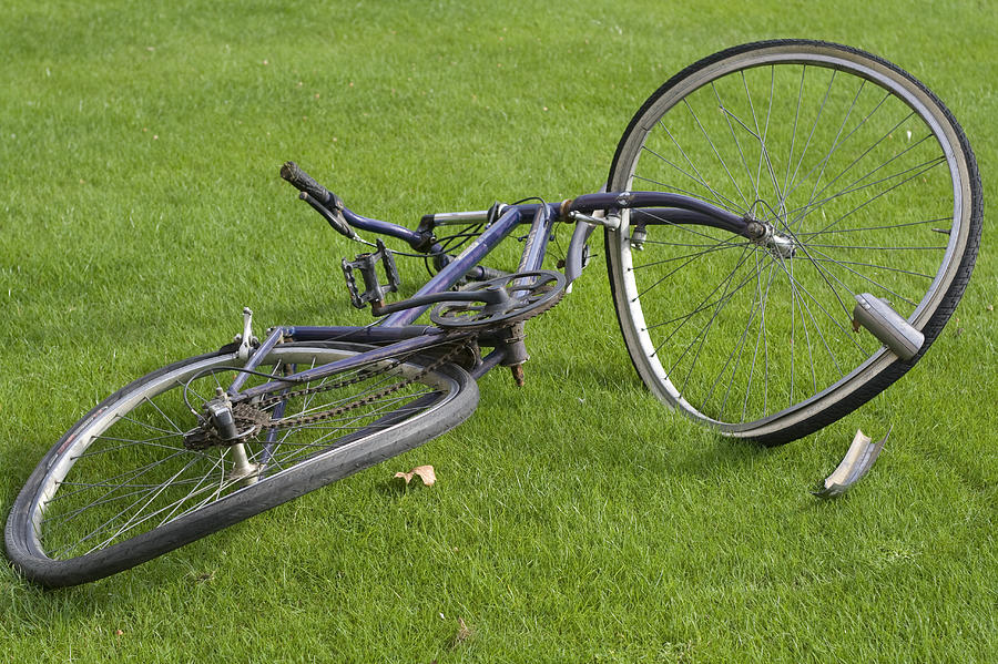 Wheel Photograph - Broken Bicycle by Carl Purcell